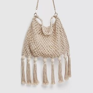 NWT-Zara sack shoulder bag-handmade ecru crochet